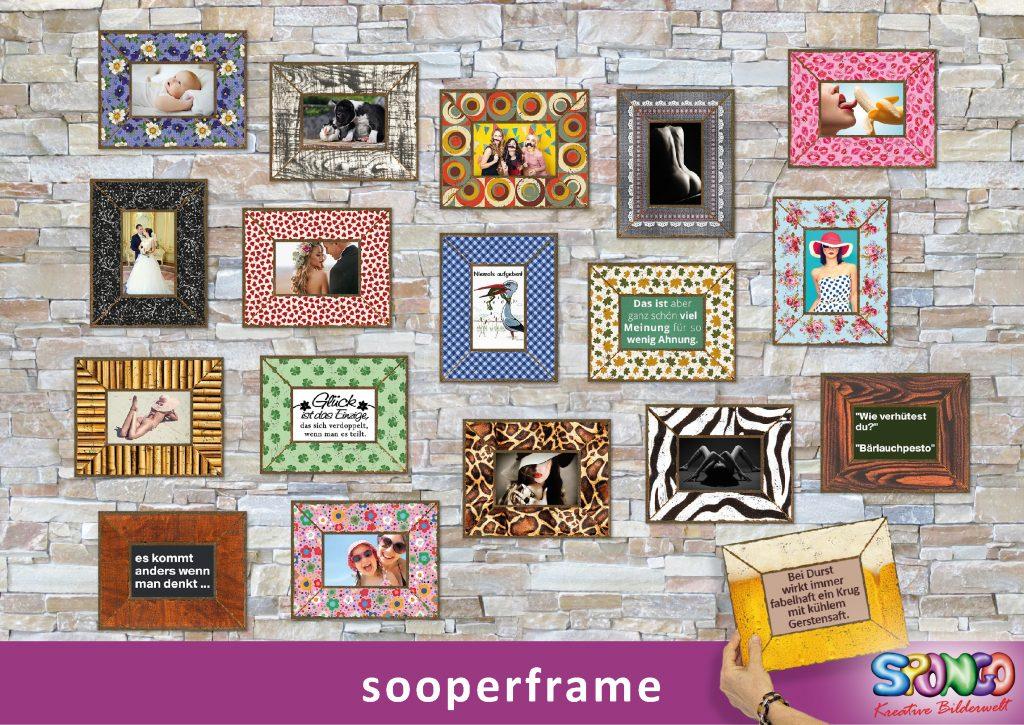 Deko-Bilderrahmen aus Karton, Papp-Bilderrahmen bedruckt mit Logo, Werbetext als Werbeartikel