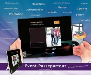 Event-Passepartout Flyer für Event-Fotografie mit Muster Gutschein