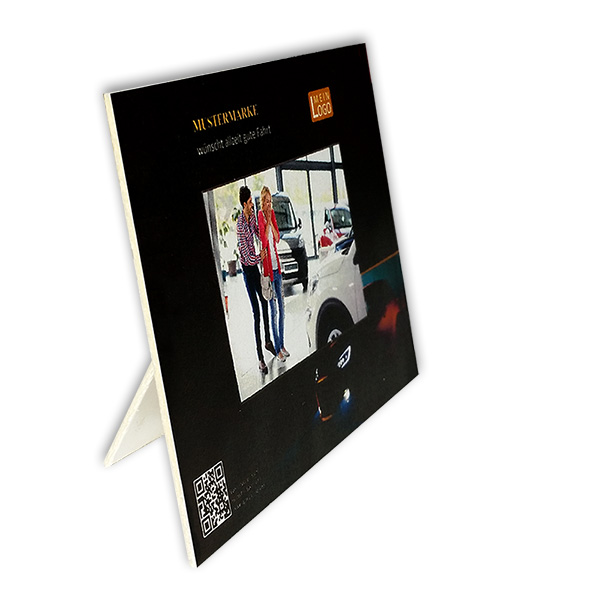 Einschub-Passepartout mit Aufsteller bedruckt mit Logo, Text und Bild